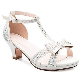 OLIVIA K Girl's Glitter Leatherette Open Toe Strappy Ankle T Strap Kitten Hee...