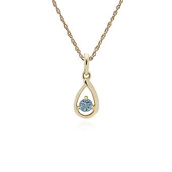 Classic Single Stone Round Aquamarine Tear Drop Pendant Necklace in 9ct Yellow Gold 135P1551079