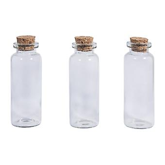 3 Small 6.5cm Clear Glass Bottles with Corks - Fairy Garden & Dolls House Crafts