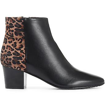 Jones Bootmaker Womens Animal Print Heeled Leather Ankle Boot