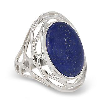 ADEN 925 Sterling Silver Lapis Lazuli Oval Shape Ring (id 4389)