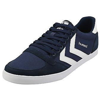 hummel Slimmer Stadil Low Mens Casual Trainers in Navy White
