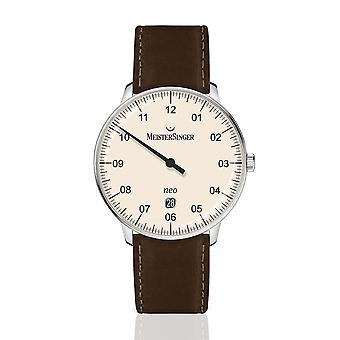 MeisterSinger Neo Plus NE403-SCF02 Automatic Ivory Dial Brown Leather Strap Men's Watch