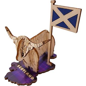 Tartan Highland Coo on Scotland Map by Pop Up Designs