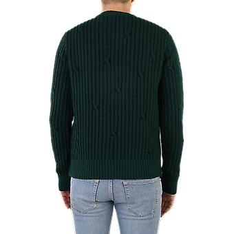 OFF BIANCO Cabled Off W Crewneck Verde OMHE043E20KNI0015700 Top