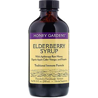 Honey Gardens, Elderberry Syrup with Apitherapy Raw Honey, Organic Apple Cider V
