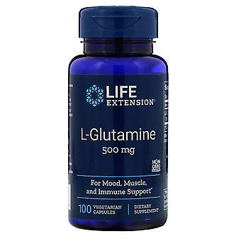 Extensión de la vida, L-glutamina, 500 mg, 100 cápsulas vegetarianas