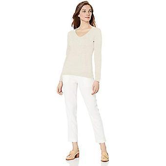 Brand - Lark & Ro Women's Long Sleeve V Neck Pima Cotton Sweater, Ivor...