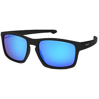 Sonnenbrille Unisex    polarisiert matt schwarz mit blauer Spiegelscheibe (P35176/C)