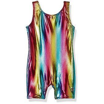 Danskin Girls' Big' Gymnastics Unitard, Rainbow Bright, Intermediate (6X-7)