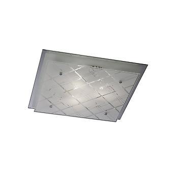 Geïnspireerde Diyas - Ram - Flush Ceiling Square 3 Licht Groot Gepolijst Chroom, Glas