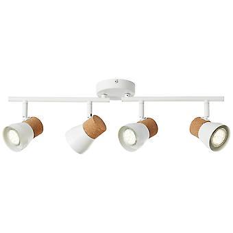 LUZ BRILLANTE Moka Spot Tube 4flg blanco mate/marrón ? 4x PAR51, GU10, 10W, adecuado para lámparas reflectoras (no incluidas)