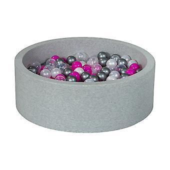 Poço de bola 90 cm com 300 bolas mãe de pérola, transparente, roxo e prata