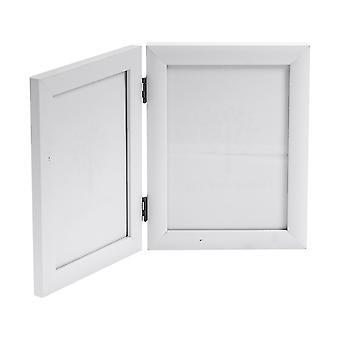 Nicola Spring 5x7 Folding Double Photo Frame In White