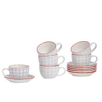 Nicola Spring 24 Piece Hand-Printed Cappuccino Cup and Saucer Set - Japanese Style Porcelain Coffee Teacups - Purple - 250ml
