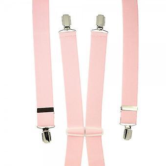 Krawatten Planet Plain Licht rosa Männer's Hosenträger - Silber Clips