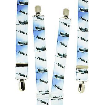 Corbatas Planeta Azul & Blanco Aeroplanos Hombres's Pantalón Braces