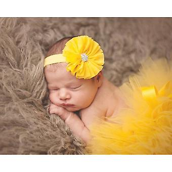 Princess Baby Tulle Tutu With Matching Flower Headband Set Newborn Photography Props Little Girl Tutu Skirt