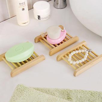 Természetes fa szappan szappan tartó, fürdőszoba fa edény szárító rack