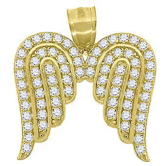 10k Sárga Arany Férfi Nők Cubic Cirkónia CZ Angel Wings vallási Charm medál nyaklánc intézkedések 20.2x19. Ékszer ajándék
