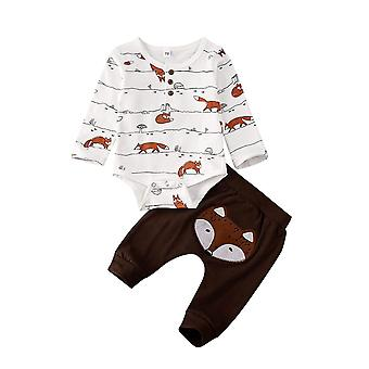 Baby/, Fox Print Tops, Vêtements Long Pants Outfits