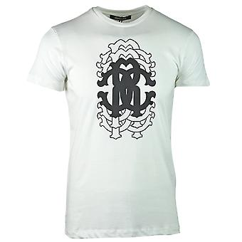 Roberto Cavalli Repetition Logo White T-Shirt