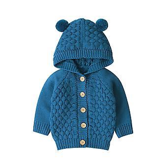 Dětské svetry batole pletené oblečení oblečení - roztomilý s kapucí s uchem zimní teplé