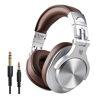 OneOdio Fusion A70 Studio Bluetooth Headphones with 6.35mm and 3.5mm AUX Connection - Headset with Microphone DJ Headphones Silver