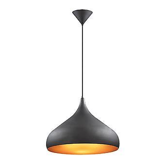 Przemysłowy i retro wiszący wisiorek czarny 1 światło z metalowym odcieniem stopu, E27
