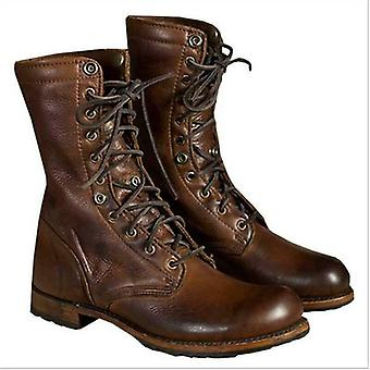 Men Punk Motorcycle Retro Ankle Boots, Faux Leather, Lace Up Shoes For Autumn,