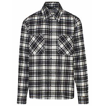 Off-white Omga133r21fab0021000 Männer's weiß/schwarz Baumwollhemd