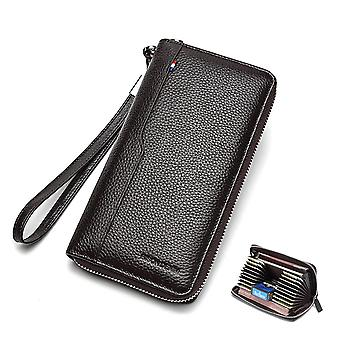100% Cow Leather Clutch Wallets - Rfid Blocking Card Holder Coin Purse Long
