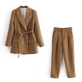 Elegant Women High Quality Brown Suit Set, Fashion Vintage Ladies Cotton