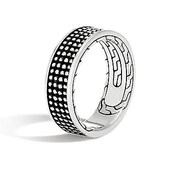 925 Silver plated handmade ring for men in black pattern