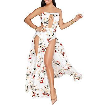 White Floral Slit Legs Strapless Jumpsuit