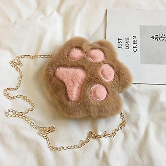 Cute Bear Paw, Chain Zipper, Shoulder Bag & Soft Plush Coin Purse