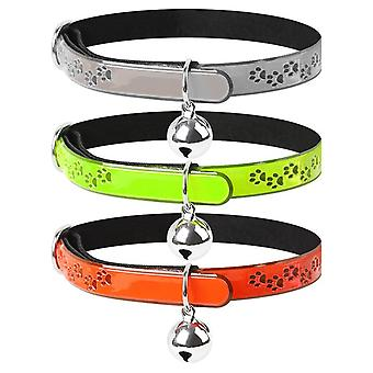 Reflective Cat Collar with Bell Set of 3 Solid Safe Collars for Cats