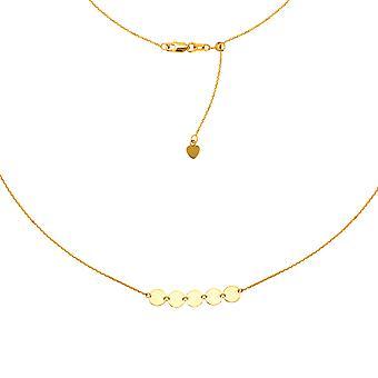 """Mini Disk Halskette 14k Gold Halskette, 16"""" einstellbar"""