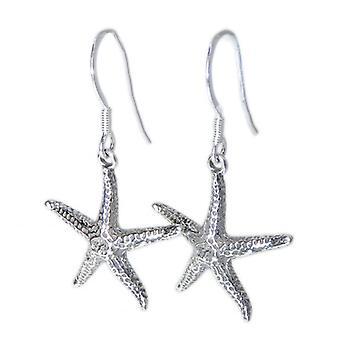 Seestern Sterling Silber Ohrringe .925 X 1 Paar Star Fish Drops - 8455