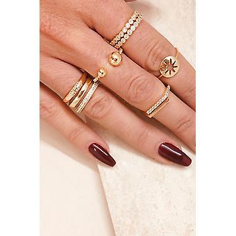 Orbital Crystal 18k Gold Plated Ring Set Of 2