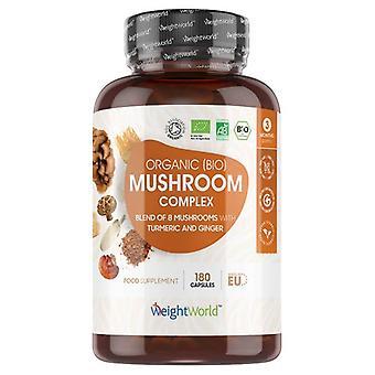 Organic Mushroom Complex – Natural Immunity Supplement - 180 Capsules