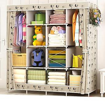 Large Size Modern Simple Wardrobe Fabric Folding Cloth Storage Cabinet, Easy