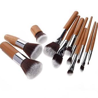 (Pro bambus) Sæt med 11 stk. populære bambus makeup pensler