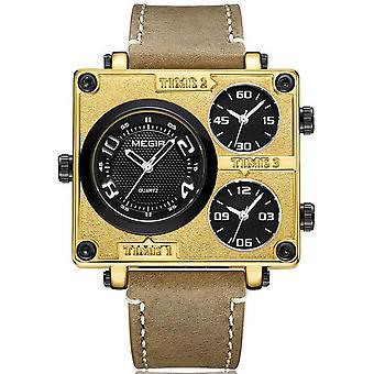 MEGIR 2069 Square Dial Multi Time Zone Genuine Leather Retro Fashion Męski zegarek
