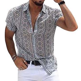 YANGFAN Men's Imprimé Lapel Shirt Top