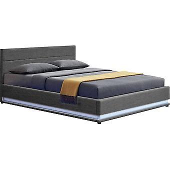 """Łóżko z diodą LED """"Anastasia"""" - 140 x 190 cm - Ciemnoszary"""