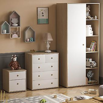 Neptune 3 Piece Bedroom Furniture Set, Bedside Table, Chest of Drawers, Wardrobe Two-tone, White & Oak