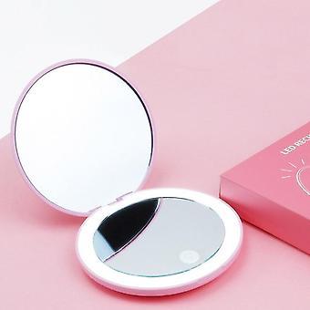 1Pc portátil espelho de maquiagem led iluminado dobrável redonda ampliação cosméticos viagem beleza anel foto luz preenchimento
