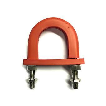 lett flammehemmende antivibrasjon gummi foret U-bolt 43 mm Id (dress 32 mm Nb Pipe) - galvanisert mildt stål