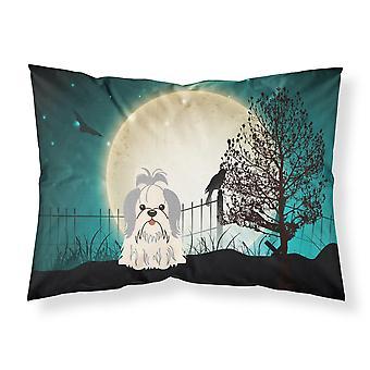 Caroline'S Tesoros Halloween Scary Shih Tzu plata tela blanca funda de almohada estándar Bb2275Pillowcase, multicolor